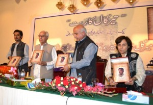 Dr. Malik Baloch Launching the Book. Credit: Musa Farman